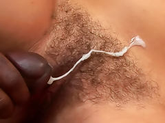 Young hairy vagina meets big black cock