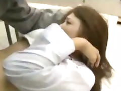 Schoolgirl Getting Her Hairy Pussy Fingered And Fucked By The Cleaner In The Classroom