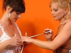 Sandra Sanchez And Silvia Saint fuck each other with strap on