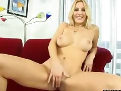 Gorgeous and busty blond Celestia gets naked and fucked