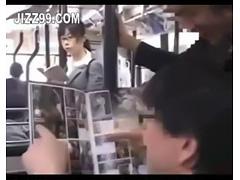 office lady seduced blowjob by geek on bus