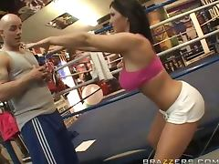 Busty brunette Claire Dames fucks Derrick Pierce on the prize ring