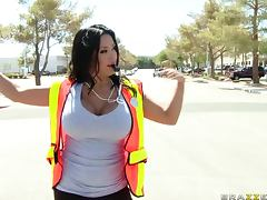 Big Breasted Crossing Guard In Uniform Leaves Her Duty For a Big Cock