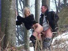Slutty Voyeur Blonde Babette Gets Facialized In an Outdoor Sex Session