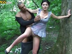 Forest, Amateur, Brunette, Clothed, Cumshot, Interracial