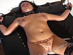 Sub in corset suffers for his pleasure
