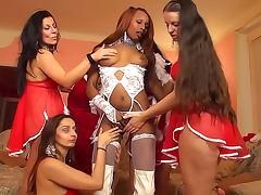 Girls in Christmas lingerie lesbian sex scene