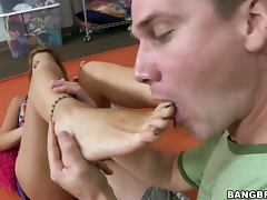Hungarian babe gets her feet slipery and all over his penis