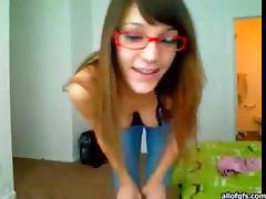Sexy Babe in Glasses Showing Her Boobs and Hot Butt in Webcam Show