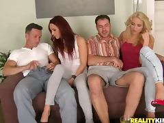 Amazing orgy video with two couples fucking together