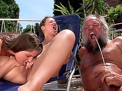 Dirty old man fucks pissing women