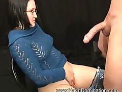 Horny Brunette Geek Handjobs A Big Cock