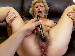 Old Effie with hairy crotch is riding on huge dick