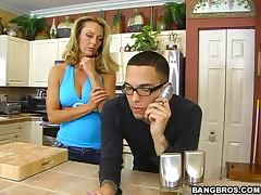 Horny blonde housewife gets fucked good by a young