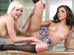 Hot lesbian schoolgirls bring out strapon