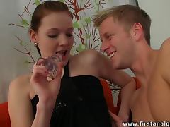 Euro Babe Monika Gets Cum On Her Tiny Tits After Anal