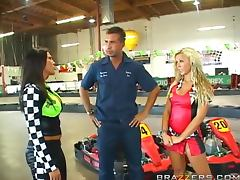 Two horny babes fuck the ref before the Kart race