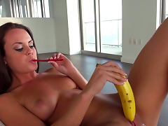 Chick sucks cock lollipop and plays with toys