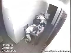 Doggyfuck and missionary pose takes place in the bakery and security cam is watching this