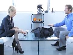 Hot blonde in office clothes gets fucked hard at the business meeting