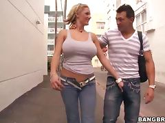 Busty Blonde Zoe Holloway Gives A Handjob And Blowjob
