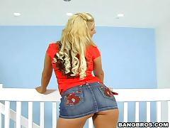 Miniskirt, Ass, Babe, Big Tits, Blonde, Bra