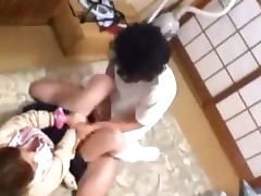 Schoolgirl Getting Her Pussy Fucked By Guy Creampie On The Mattress In The Room