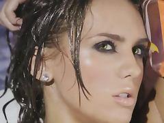 Dark haired hottie Sydney Barlette fondles her wet body in the bathroom