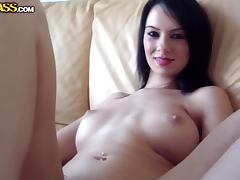Brunette chick toys her ass before rough anal sex