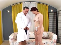 Slutty redhead granny gets fucked in her hairy pussy