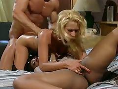 Hardcore interracial threesome fuck