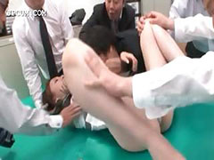 Asian office secretary gets cunt teased upskirt in group