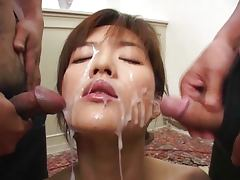 JAV, Brunette, Bukkake, Cum, Facial, Group