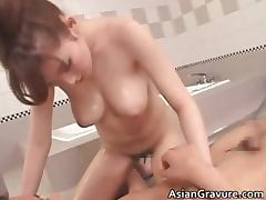 Gorgeous asian brunette babes suck stiff part1