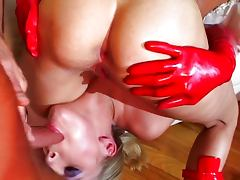 All, Brunette, Cumshot, Group, Lick, Rubber