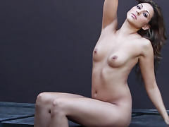 Erotic brunette Ariana Loken sucking her fingers