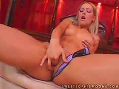 Sophie Moone fingers her pussy before fucking it with a toy