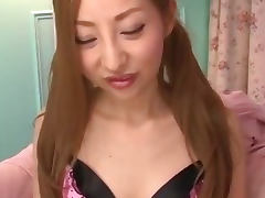 Teen cutie Erena Aihara takes on two rock hard cocks sucking them both