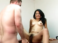 Brunette with hairy pussy Andrea Kelly is gorgeous