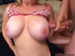 Lovely blondie with huge tits likes it huge