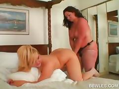Lesbo BBW hottie gets ass toyed in close up