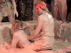 Party bitches getting wet and messy in mud fights