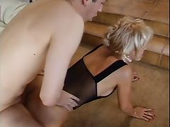 Trashy older c cup blonde sucks young dude's cock then he licks her pussy