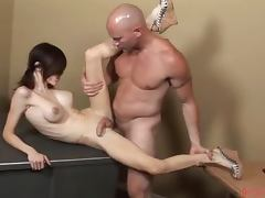 Beautiful Shemale Sucks and Gets Fucked Hard by Bald Dude