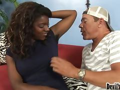 Ebony whore gets her extremely bushy pussy licked and fucked