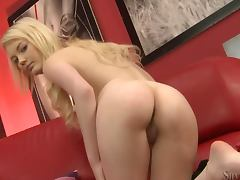 Pretty blonde Withney shows her body during a casting