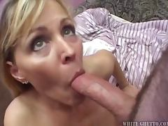 Slutty blonde MILF getting gangbanged in her house