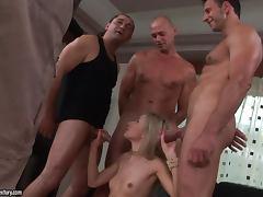 Sasha Rose gets three hard pricks to suck and ride