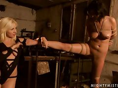 Kitty White gets tied up and tortured by sexy blonde Lea Lexxis