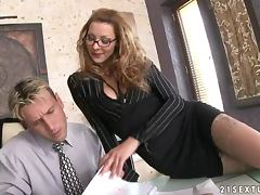 Horny boss sucks her employee's dick and gets fucked